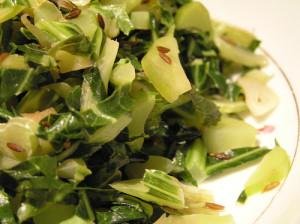 Sauteed cauliflower greens