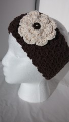 Crochet Headband Earmwarmer with Cream Flower