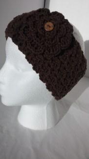 Crochet Headband Earmwarmer with Chocolate Flower