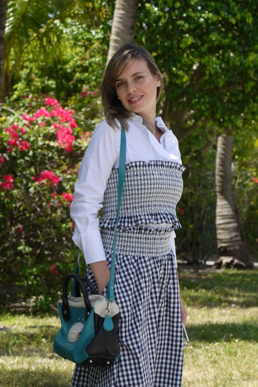 Gingham set over white shirt + Stilettos by mylovelypeople