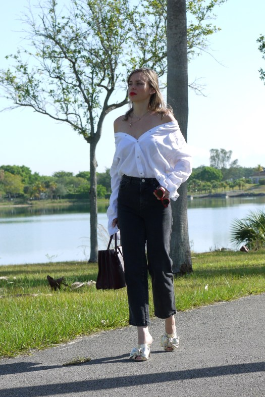 high waist cropped leg jeans + white shirt with a little twist by mylovelypeople