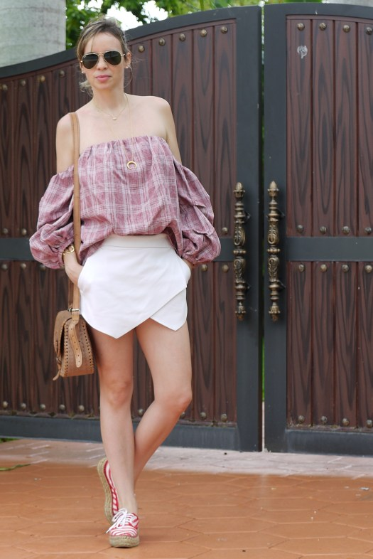 skort + off shoulder top + espadrilles By Mylovelypeople