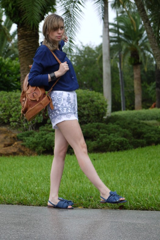 high waist short + navy blue shirt and flat sandals with bow on it by mylovelypeople