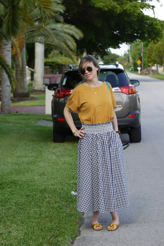 gingham skirt with mustard tee and flat satin sandals by mylovelypeople
