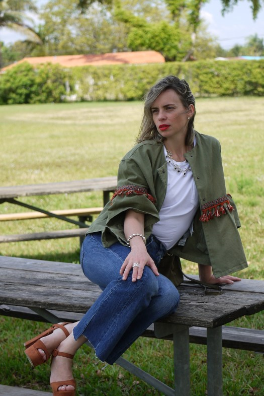 Boho kaki jacket + cropped jeans + brown sandals + silver jewels by Mylovelypeople