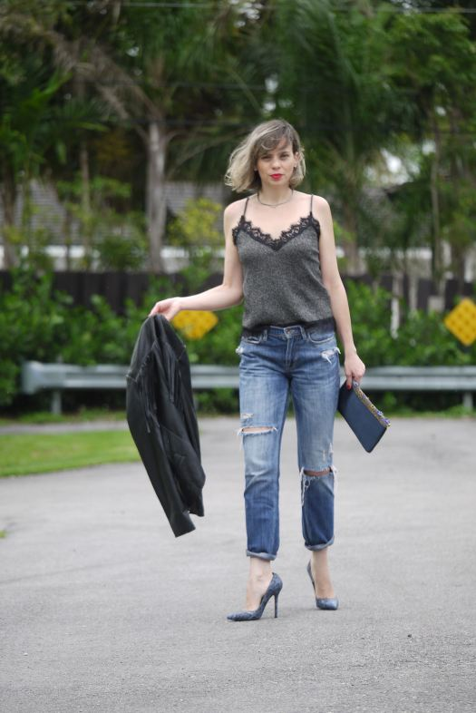 boyfriend jeans + lingerie top+ fringes jacket with blue stilettos by Mylovelypeople