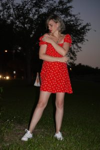 Alba Marina Otero fashion blogger from Mylovelypeople blog shares with you what she wore for Easter, a Faithfull The brand red dress with white sneakers, a leather Coach bag, golden necklaces and statements earrings as accessories