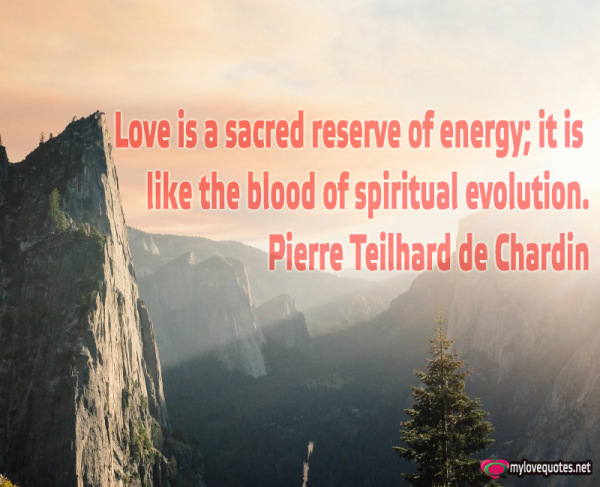 love is a sacred reserve of energy it is like the blood