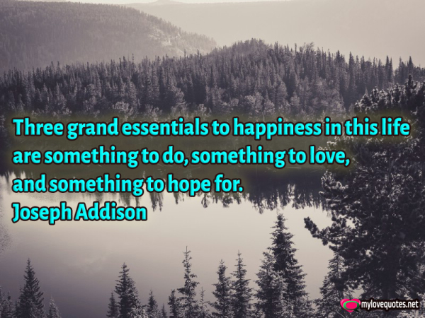 three grand essentials to happiness in this life