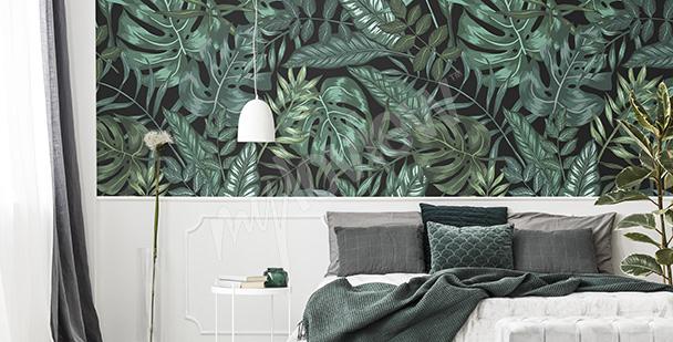 Immagina di dormire nella giungla, tra grandi foglie verdi e un tucano dal becco giallo: Carta Da Parati Camera Da Letto Su Misura Della Parete Myloview It