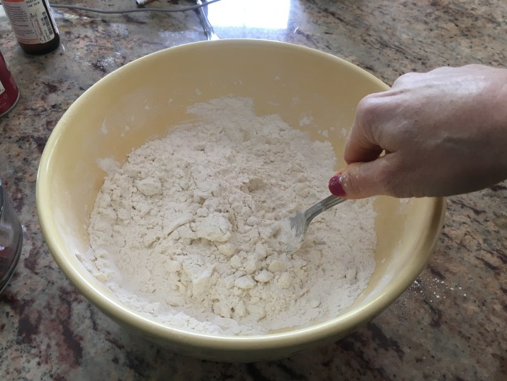 Mixing flour and butter