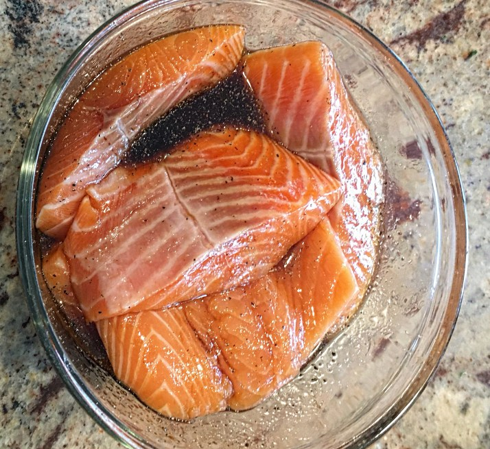 Put salmon portions in a bowl for marinating. Pour marinade over fish portions and let sit for 30 minutes.While fish is marinating, move cooking rack under broiler. Turn on broiler to preheat.( I used the top rack for this recipe) *If using an outdoor grill, turn grill on medium heat and use a grill pan so fish doesn't fall through grates while cooking.