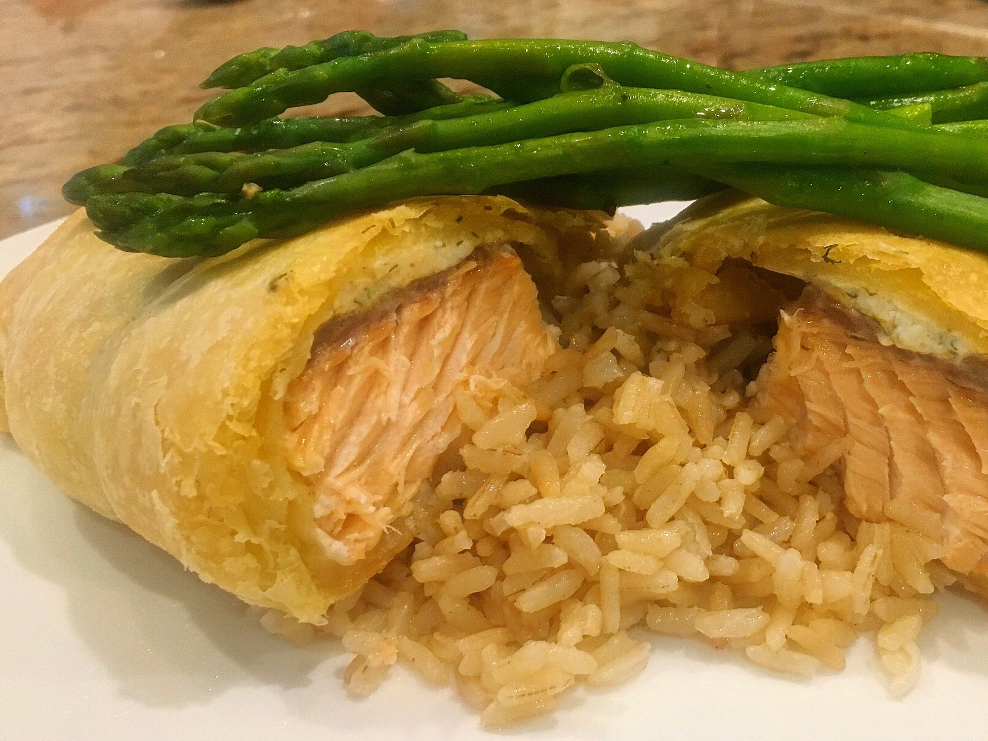 Salmon Dish with Rice and asparagus