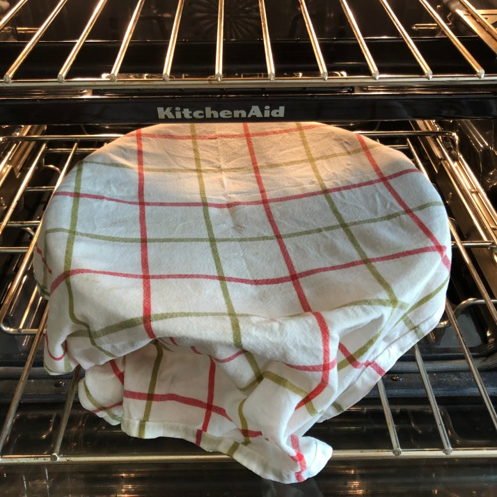 Using very warm water, soak a tea towel and wring out well.  Then place the towel over the bowl of dough.  Place the bowl in a warm spot to rise for 1 hour. The dough should double in size.      I use the proofing setting on my oven and place the dough inside, or place on the counter in a warm place when temperatures are cooler it may take the dough longer to rise.