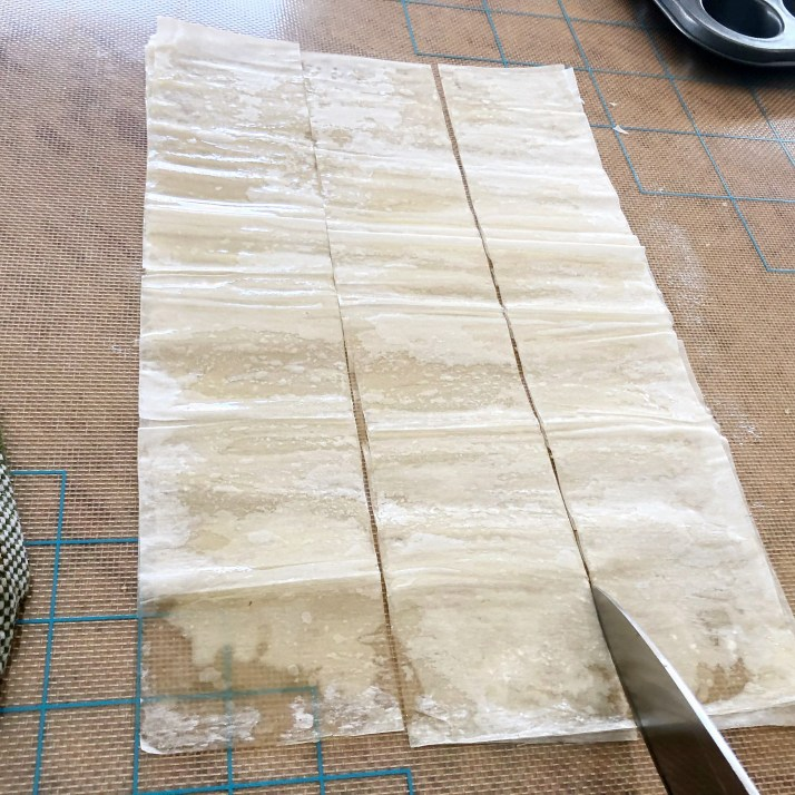 Cut dough into squares