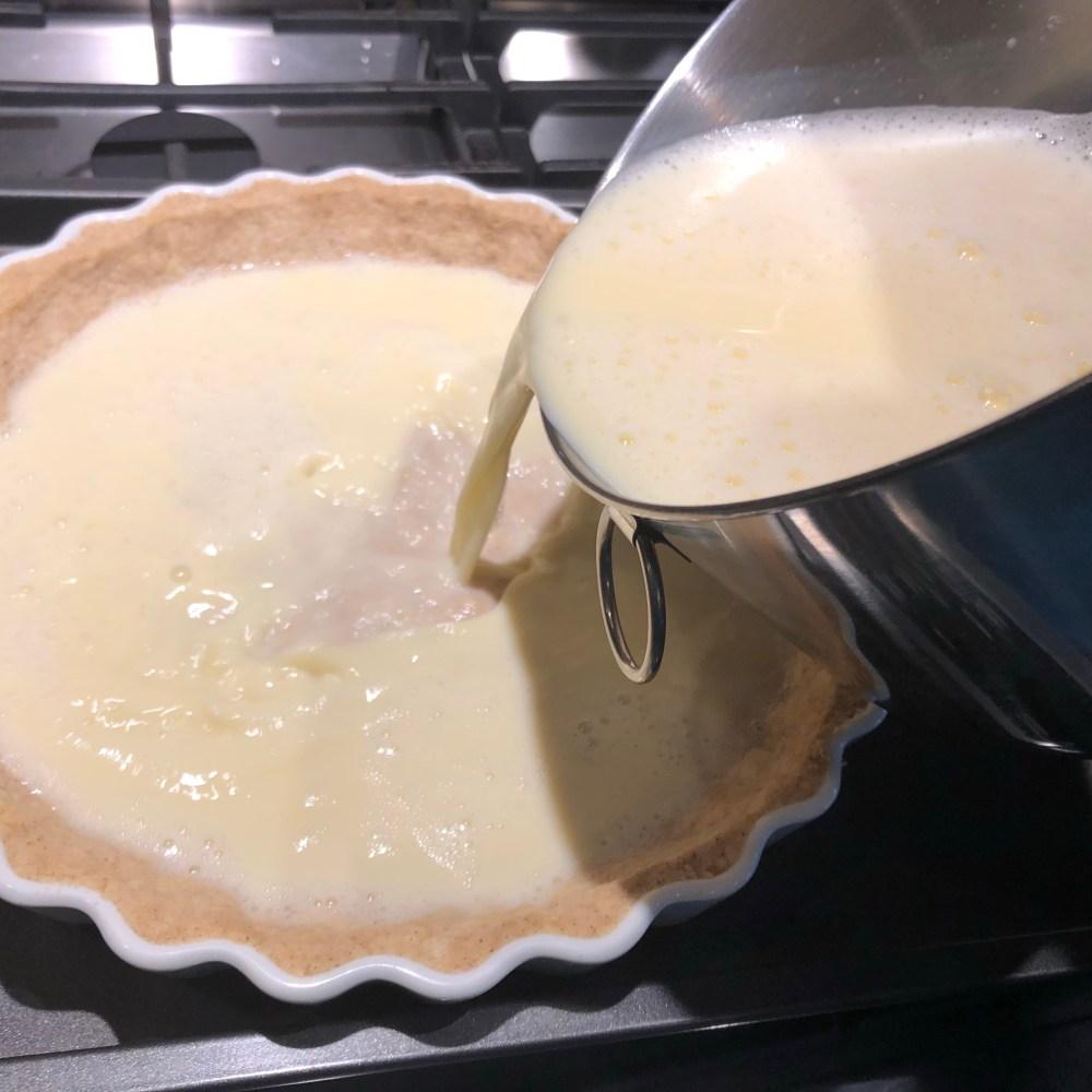 pour custard into shell