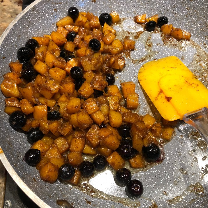 add in blueberries and lower heat. Cook for 2 minutes and remove from heat.