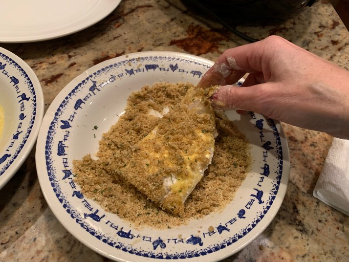 now dip fish in breadcrumbs