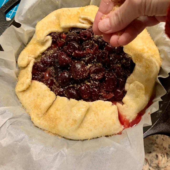 sprinkle the entire galette with a generous amount of turbinado sugar