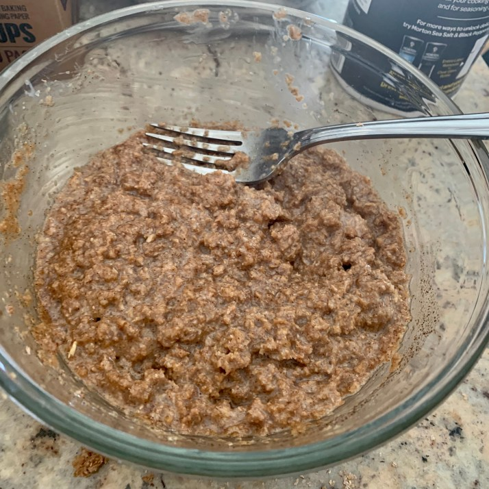 add the bran mixture and the egg and sugar mixture together until blended