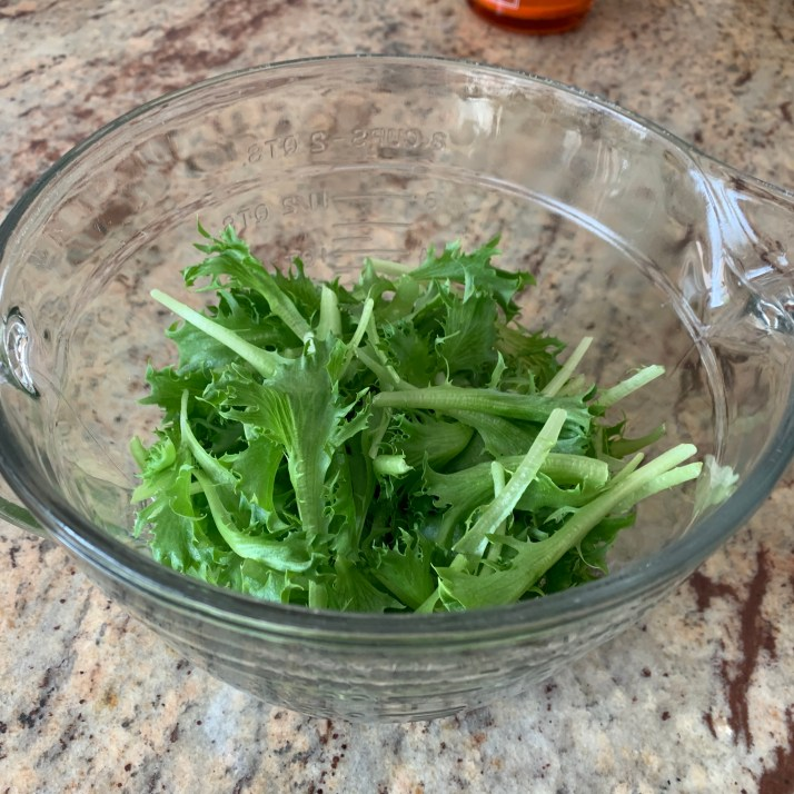 place micro greens in the salad bowl