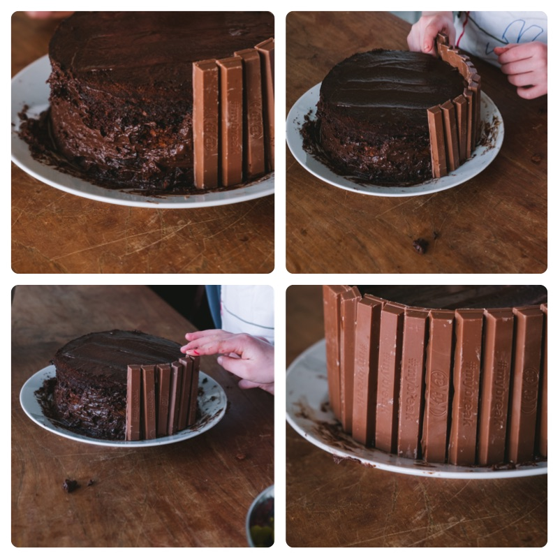 DIY kitkat cake with m&m's