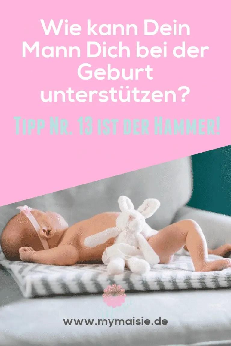 Wie kann Dich Dein Mann während der Geburt unterstützen? Baby mit Kuschelhasen