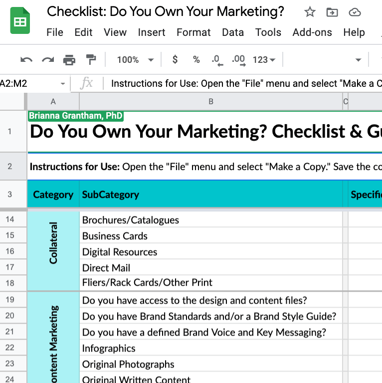 Checklist: Do You Own Your Marketing? screenshot