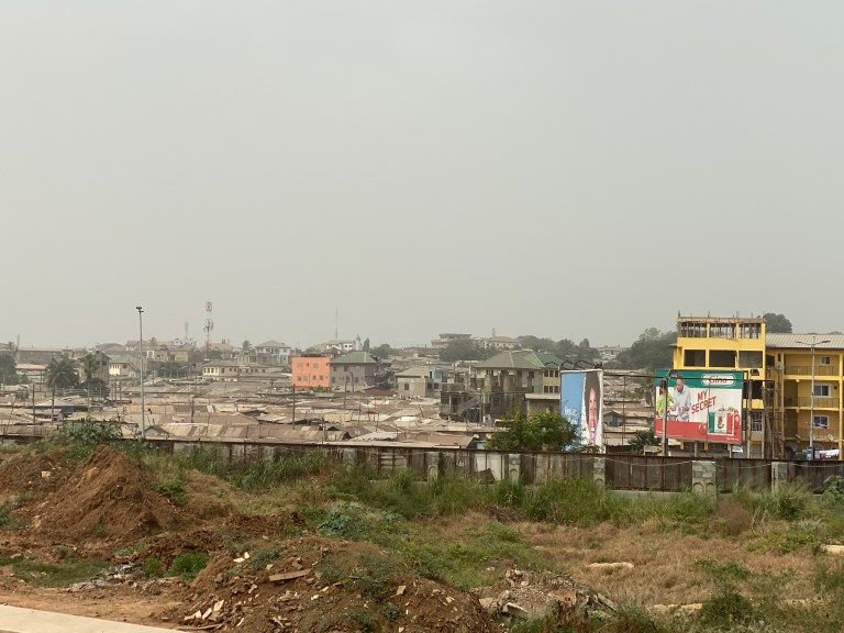 A view onto Nima from the Accra Central Mosque, Accra