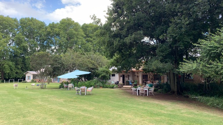 Overnight trip on the Midlands Meander - Outdoor eating area at the Crystal Barn Midlands
