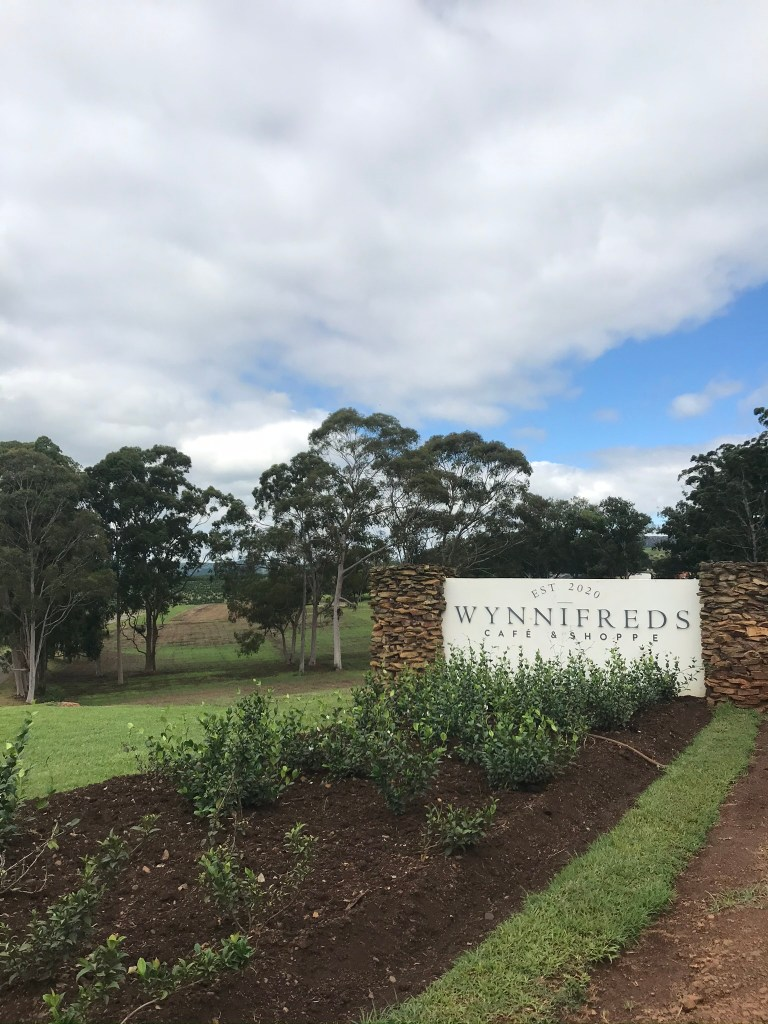 A stop at Wynnifreds for brunch. The entrance to Wynnifreds restaurant in Tala Valley