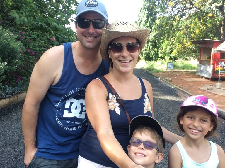 Our family going for a walk in our neighbourhood in Accra Ghana, on our first weekend living as expats here.