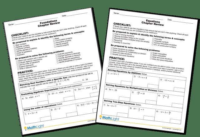 unit review for mathlight - study skills for algebra