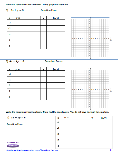 My Math Resources - Linear Equations Worksheet – Create a ...