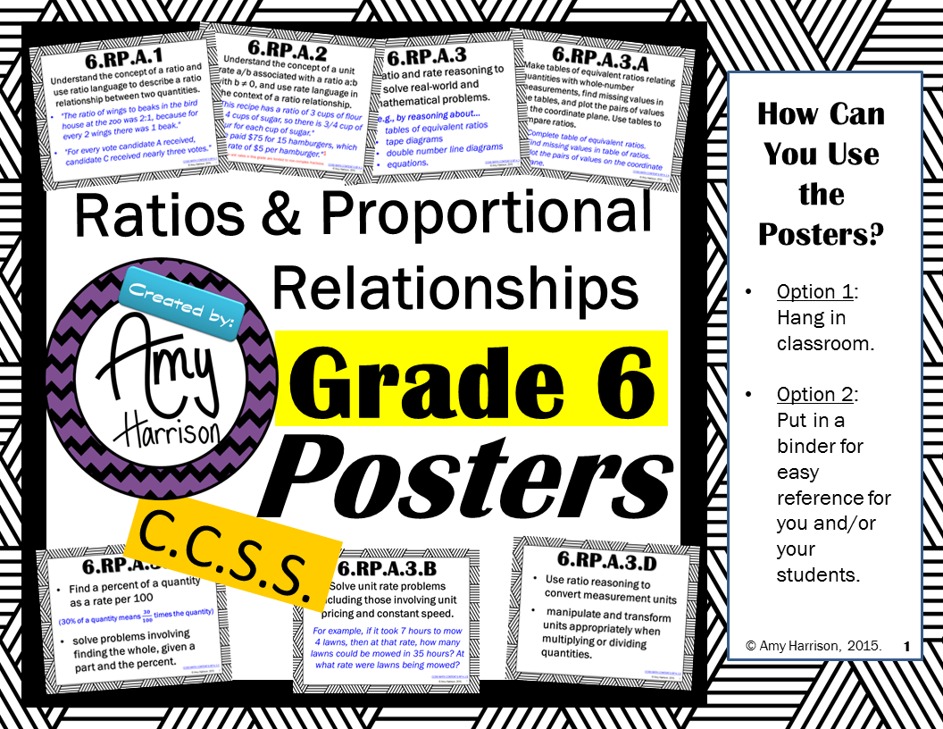 Free 6th Grade Ratios And Proportional Relationships