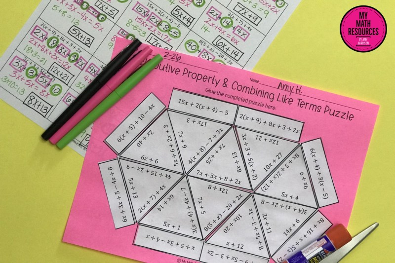 This is a fun and engaging way for your 5th, 6th, or 7th grade math students to practice the distributive property and combining like terms (with positive numbers only).  Students LOVE puzzles, and you have NO PREP - just print and go!  Easy!   #math #teacher #mathteacher #algebra #geometry #percent #decimal #fractions #middleschool #jrhigh #conversions #review #test #quiz #5th #6th #7th #grade #activity #tpt #teacherspayteachers  #teacherlife #student #education
