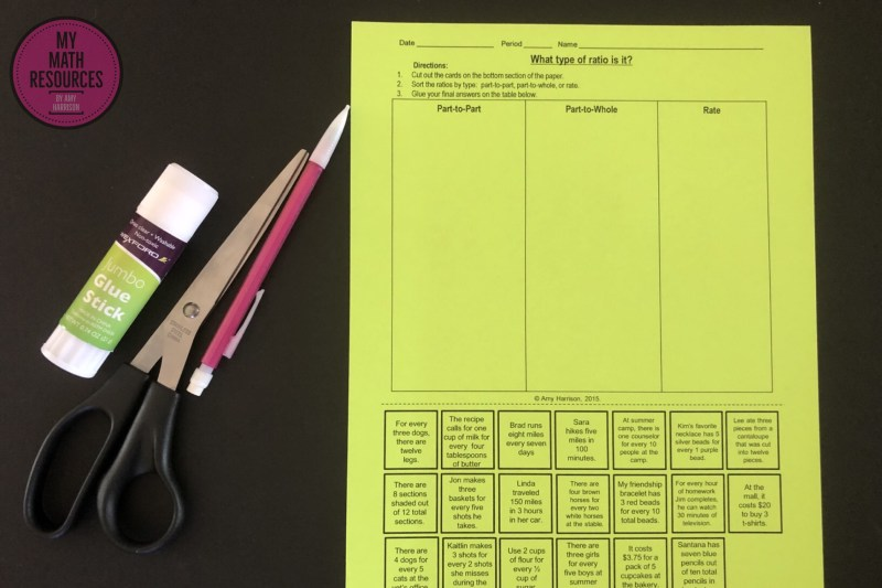 This activity is a fun, hands-on, and interactive way for your 5th, 6th, and 7th graders to practice recognizing all three types of ratios: part to part, part to whole, and rates.  #mathteacher #math #maths #teacher #algebra #geometry #mathproblems # study #iteachsixth #iteachseventh #iteacheigth #6thgrade #7thgrade #8thgrade #middleschoolmath #teacherspayteachers #teachersfollowteachers #teacherinspiration