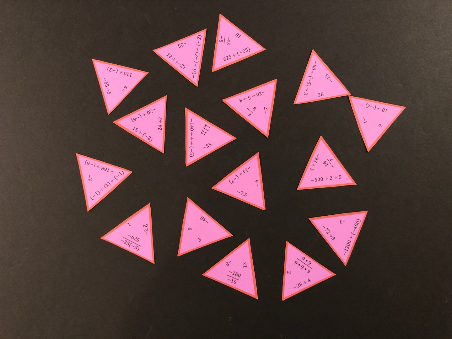 Dividing Integers Triangle Puzzle