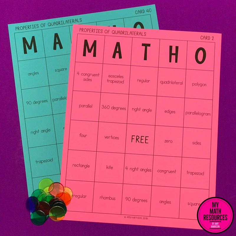 MATHO is a great way for your 5th Grade Math class to practice and review the properties of quadrilaterals.  Review Core Standards 5.G.B.3 and 5.G.B.4!  There is almost no prep - just print and go!  Easy!  #mathteacher #math #maths #teacher #algebra #geometry #mathproblems #study #iteachsixth #iteachfifth #5thgrade #6thgrade  #middleschoolmath #teacherspayteachers #teachersfollowteachers #teacherinspiration