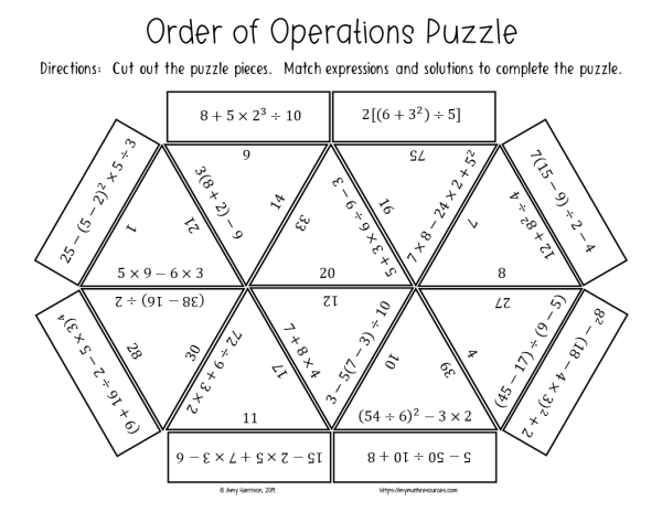 Order of Operations Puzzle CCSS 6.EE.A.1
