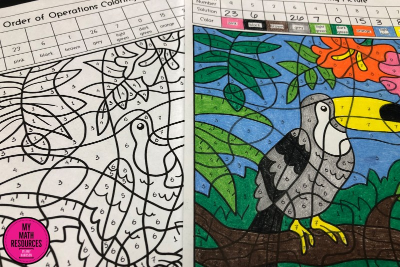 This is an Order of Operations Coloring PIcture activity - a fun way to practice core standard 5.OA.A.1!  A great change of pace for any 5th or 6th grade Math Class - your students will have fun while they practice Order of Operations.  #mathteacher #math #maths #teacher #algebra #geometry #mathproblems #study #iteachsixth #iteachfifth #6thgrade #5thgrade #middleschoolmath #upperelementary #teacherspayteachers #teachersfollowteachers #teacherinspiration