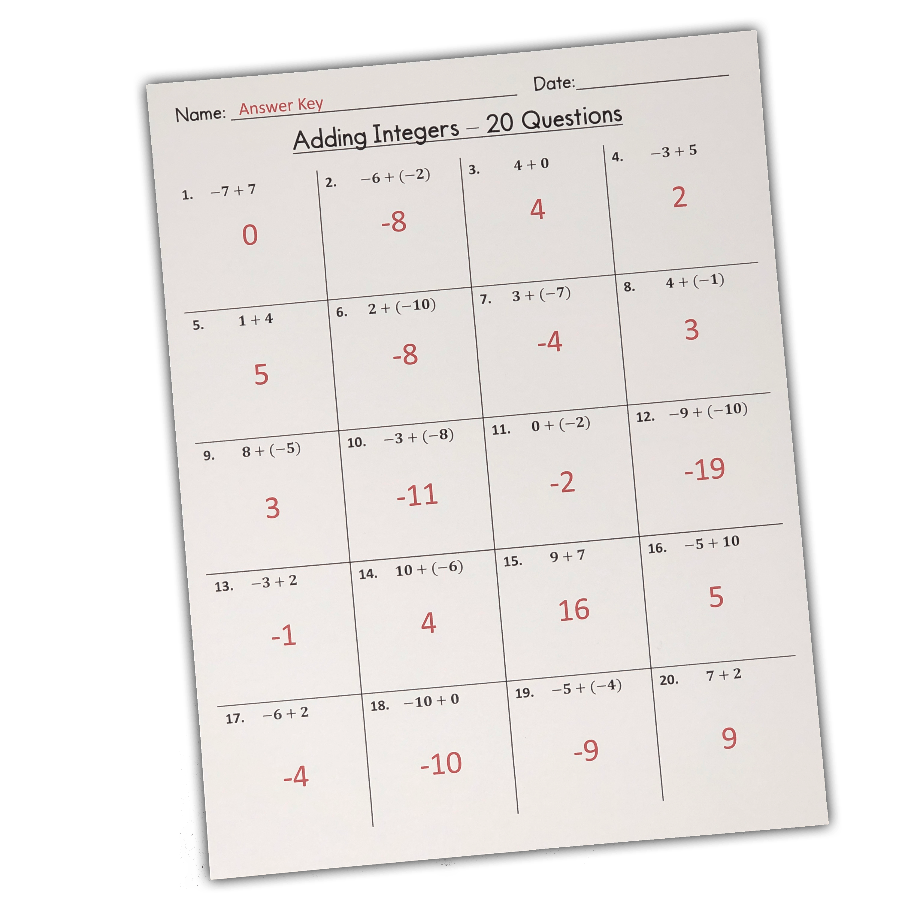 - My Math Resources - FREE Beginners Adding Integers Worksheets