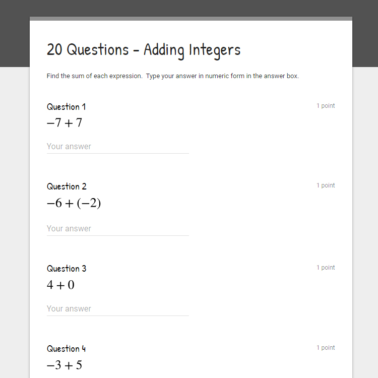 These are three FREE beginner level adding integers worksheets! Each expression has two integers between -10 and 10.  Includes an answer key!  Use these worksheets as class work or homework!