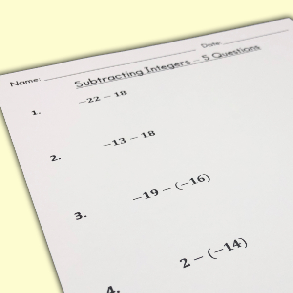 These are three FREE beginner level subtracting integers worksheets! Each expression has two integers between -30 and 30.  Includes an answer key!  Use these worksheets as class work or homework!