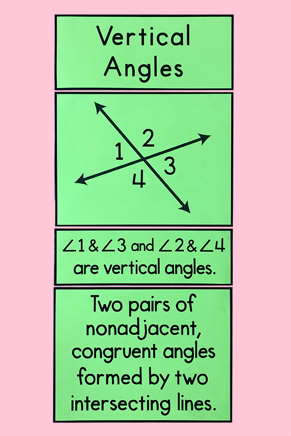 These bulletin board posters will help your 6th, 7th, or 8th grade math class identify types of angle pairs!  Add them to your word wall or anchor charts - this is cute math classroom decor! #middleschoolmath #posters #bulletinboard