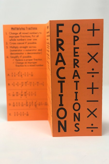 Your 5th, 6th, 7th, or 8th grade math students will really benefit from this fraction operations foldable.   Students will write the rules for how to add, subtract, multiply, and divide fractions. Finally, they will complete examples about adding fractions, subtracting fractions, multiplying fractions, and dividing fractions.
