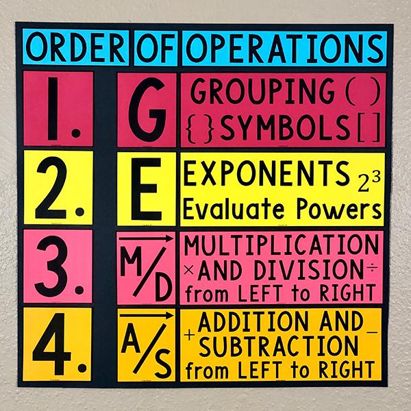 GEMDAS Order of Operations Poster