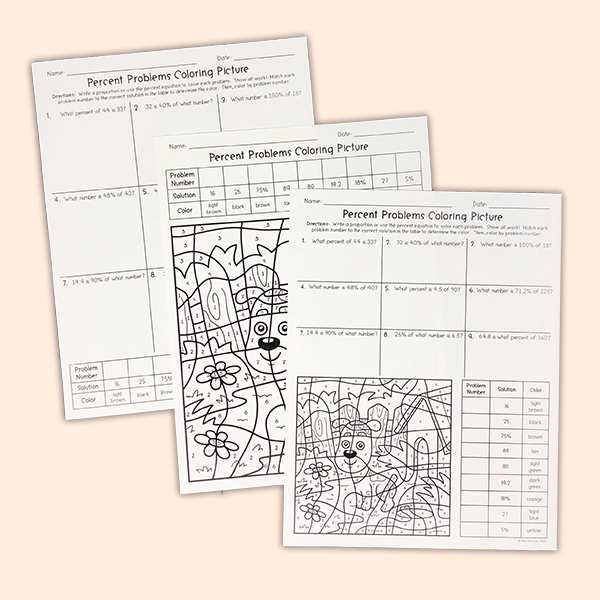 My Math Resources - Percent Problems Worksheet - Fun Math ...
