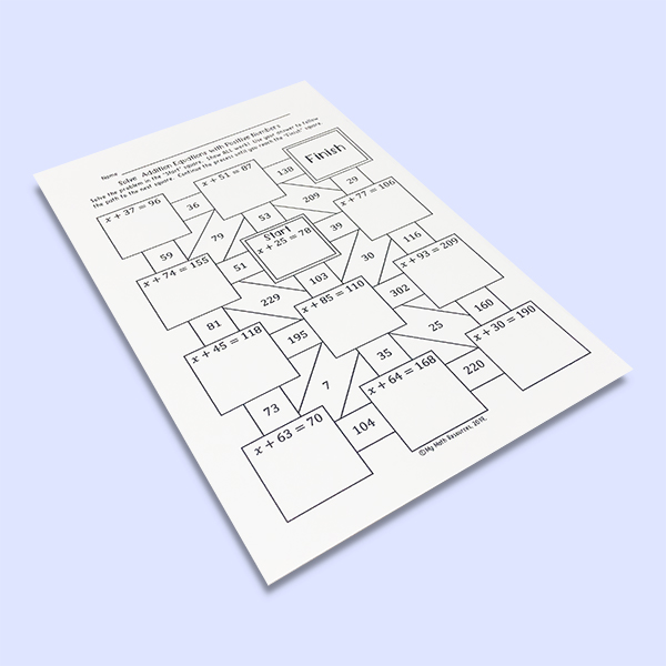 This maze is a fun way for your 6th, 7th, or 8th grade math class to review solving equations with positive numbers.  Try a fun activity for your middle school math class!