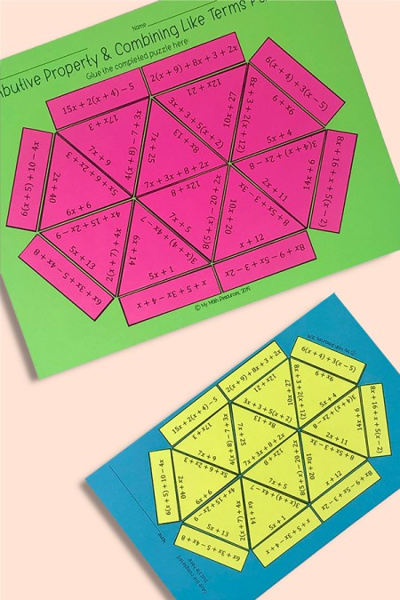 This is a fun and engaging way for your 5th, 6th, or 7th grade math students to practice the distributive property and combining like terms.  The problems have positive numbers only and are aligned with CCSS 6.EE.A.3.